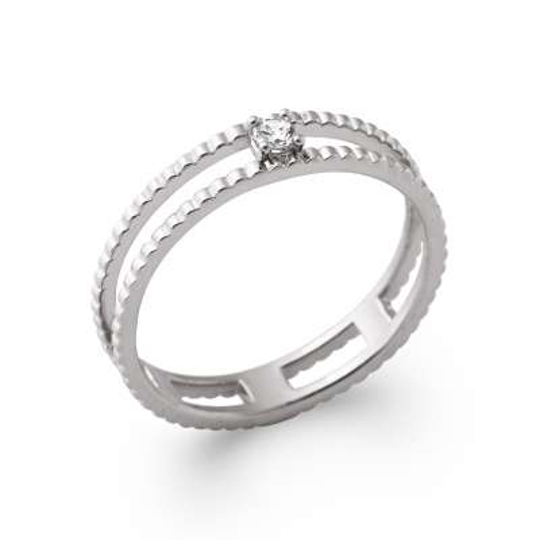 Ring de promesse petit Solitaire Cubic Zirconia Argent...