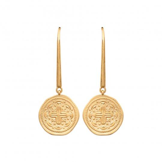 Drop Earrings Christian cross Flowers de lys Gold plated...