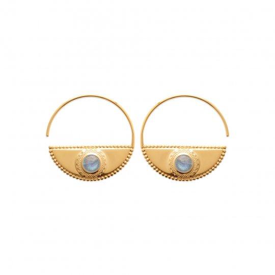 Hoop Earrings demi lune ouvertes 30mm Labradorite Gold...