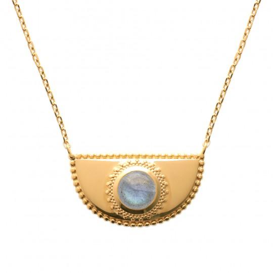 Collier demi lune labradorite Plaqué Or - Femme - 45cm