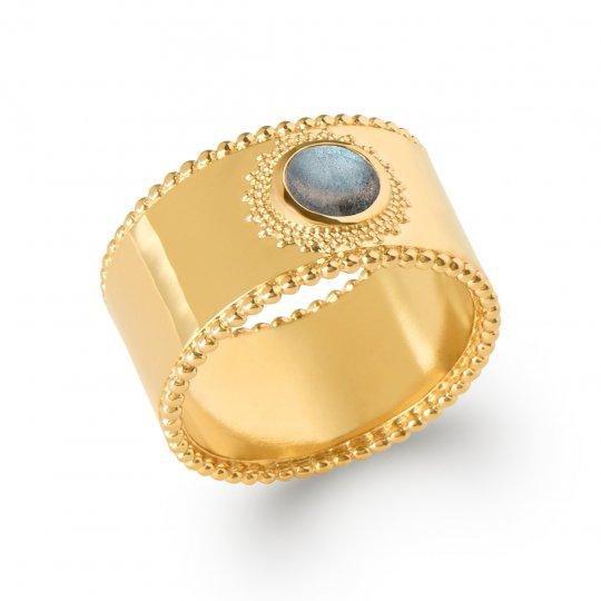 Ring large labradorite Gold plated 18k perlée - Women
