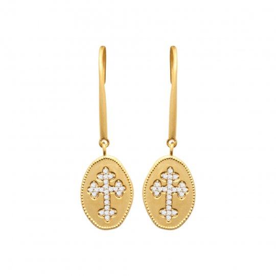 Boucles d'oreilles croix catholique Plaqué Or Oxydes de...