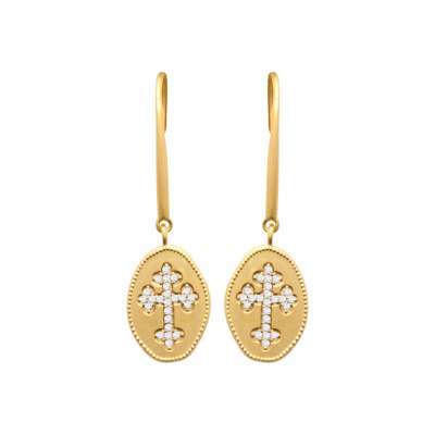 Orecchini Croce catholique Placcato in oro 18k Oxydes de...