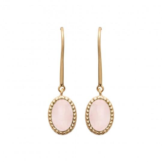 Boucles d'Oreilles pendantes Plaqué Or Quartz rose