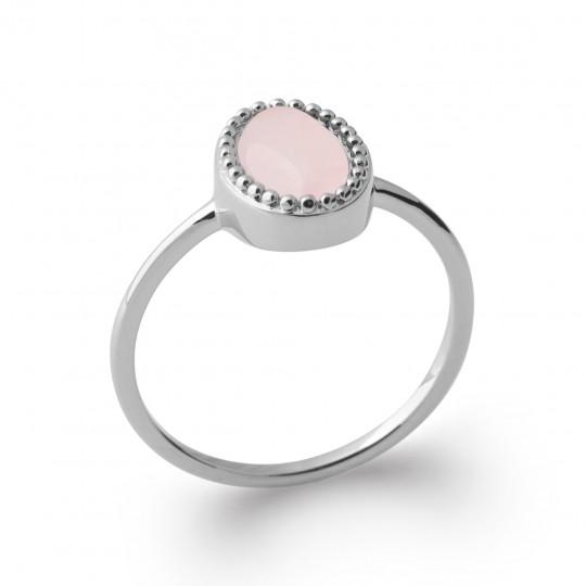 Ring quartz rose Argent Rhodié - Promesse