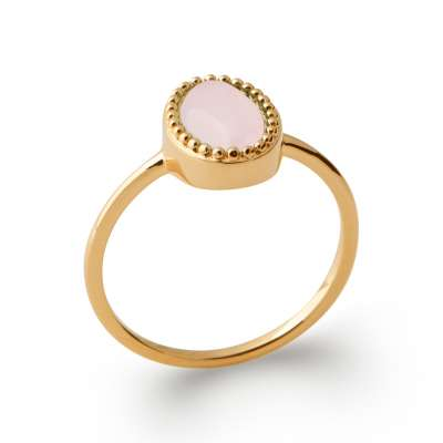 Ring fine Gold plated 18k Quartz Rose - Promesse