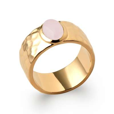 Ring Gold plated 18k Martellée Quartz rose - Women