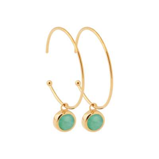 Demi-Hoop Earrings 30mm breloque Aventurine Gold plated...