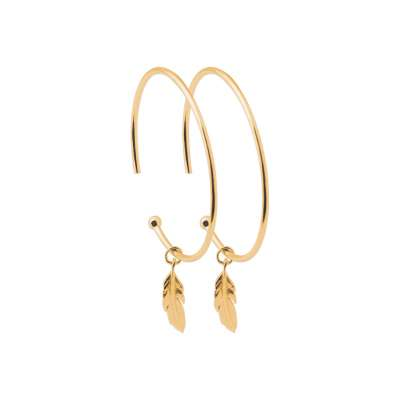 Demi-Hoop Earrings 30mm breloque Feather Gold plated 18k...