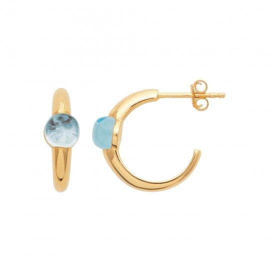 Demi Hoop Earrings Topaze Gold plated 18k - Pierre bleue