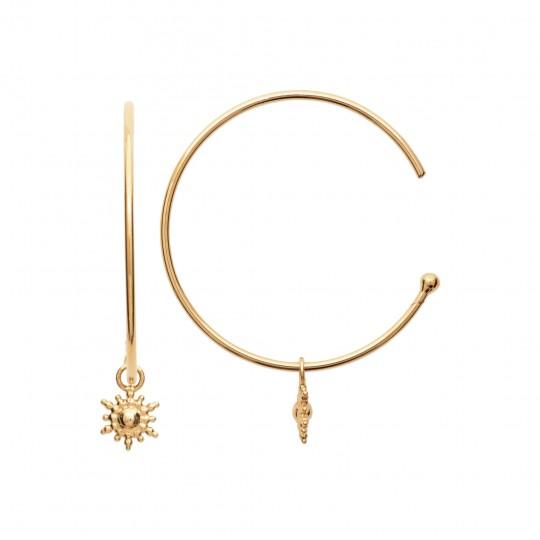 Demi Hoop Earrings 30mm breloque étoile Gold plated 18k -...