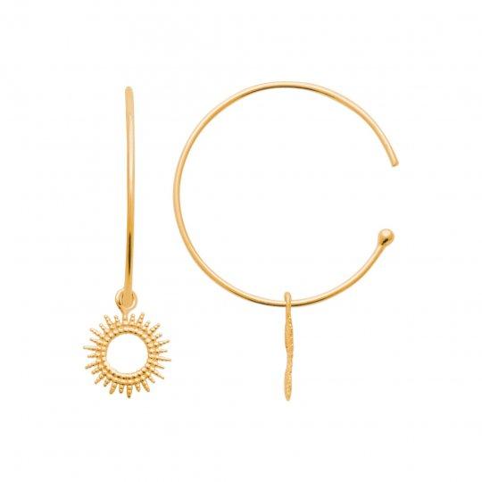 Demi Hoop Earrings 30mm breloque soleil Gold plated 18k -...