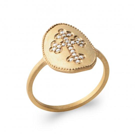 Ring fine Christian cross catholique Gold plated 18k -...