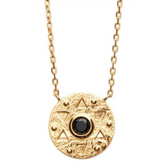 Collar étoile pierre Negro de synthèse Chapado en Oro 18K...