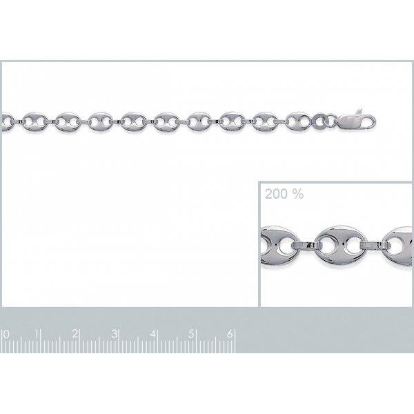 Bracelet grain de café 4.9mm argent - Homme Femme - 18cm