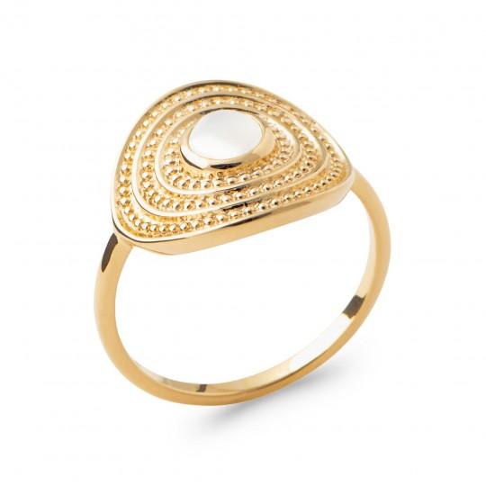 Anello Placcato in oro 18k - Pierre de lune - Donna