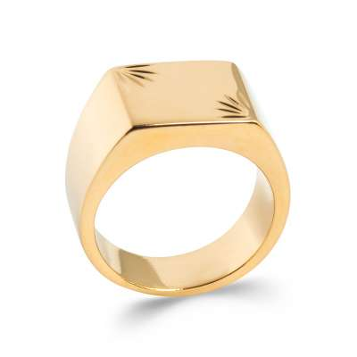 Ring Signet ring Gold plated 18k Engravable - for Men
