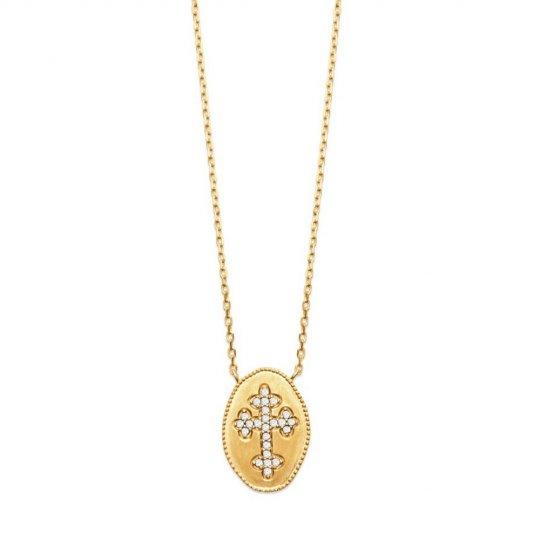 Collier croix catholique Plaqué Or - Oxyde de zirconium - 45cm
