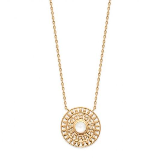 Necklace pierre de lune soleil bohéme Gold plated 18k -...