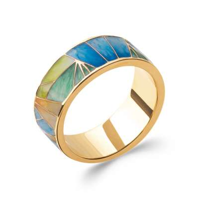 Ring Gold plated 18k 3 microns et émail multicolore - Women