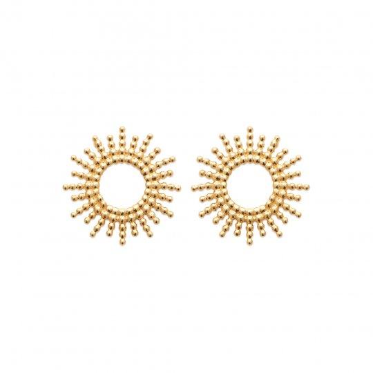 Boucles d'Oreilles soleil Plaqué Or - Femme
