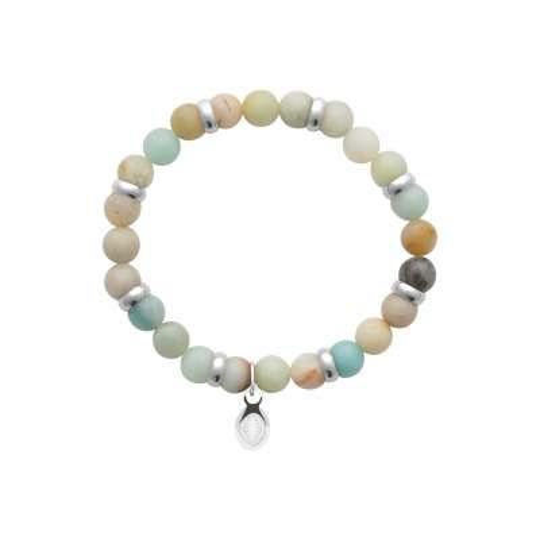Bracelet Amazonite Pierres Naturelles Acier 316L for Men...