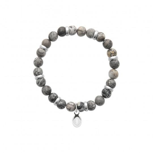 Bracelet Jaspe gris Acier 316L Pierres Naturelles Women...