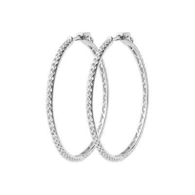 Hoop Earrings 40mm Argent Rhodié - Women