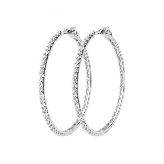 Hoop Earrings 50mm Argent Rhodié - Women