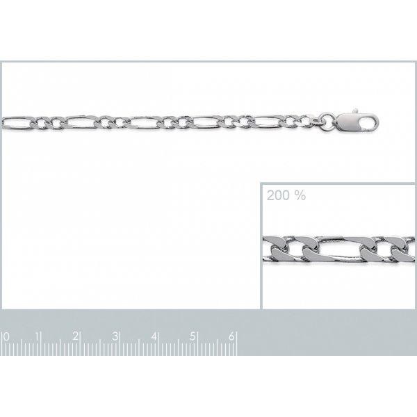Bracelet chaîne Figaro Argent Massif Rhodié - Homme/Femme - 21cm