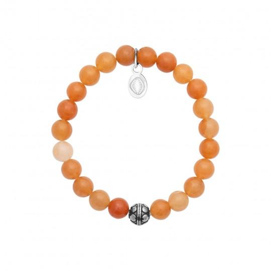 Bracelet Acier 316L - Aventurine Orange - Femme - 52mm