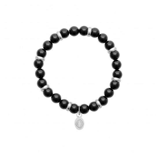 Bracelet Agates Black Acier 316L - Women for Men 60mm