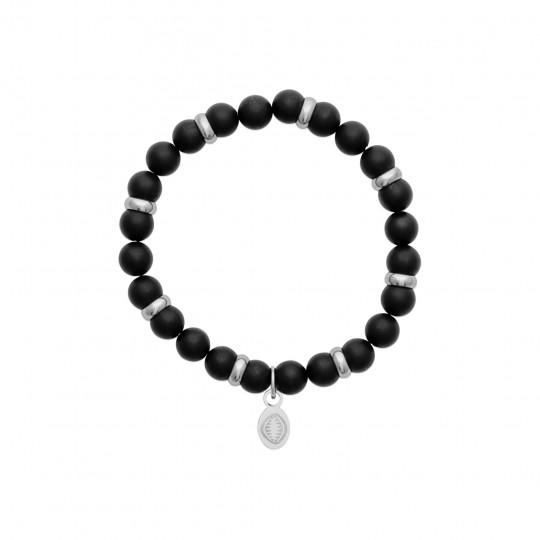 Bracelet Agates Black mates Acier 316L - Women for Men 60mm