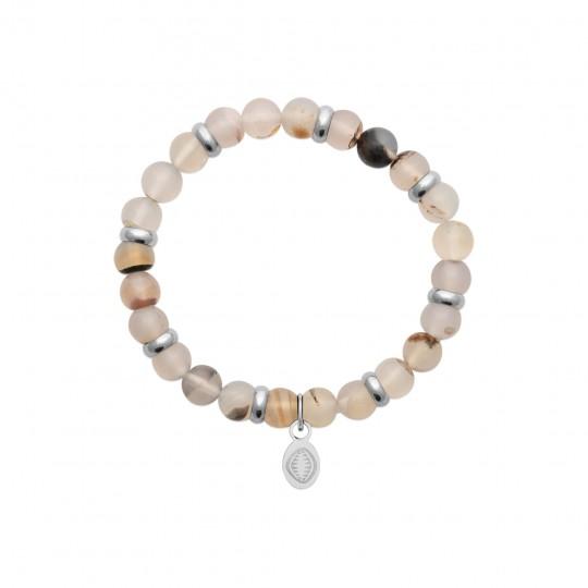 Bracelet Agate White Acier 316L Pierres Naturelles for...