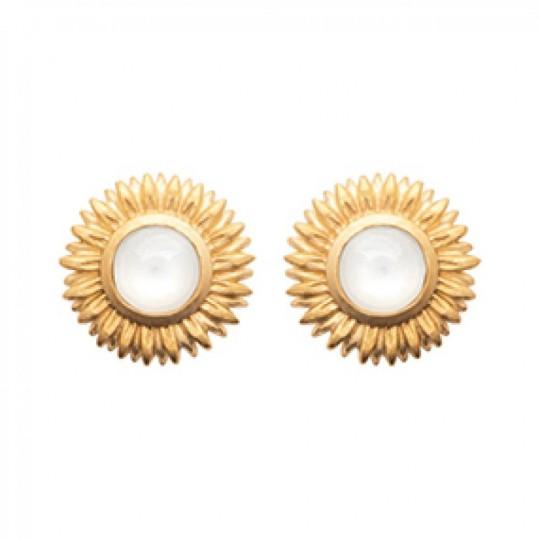 Earrings Gold plated 18k - Pierre de lune - Pierre White