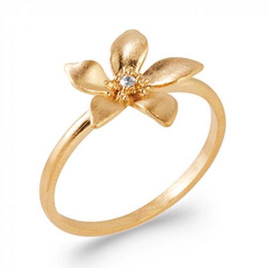 Anello Fiore Placcato in oro 18k 5 Micron - Zirconia...