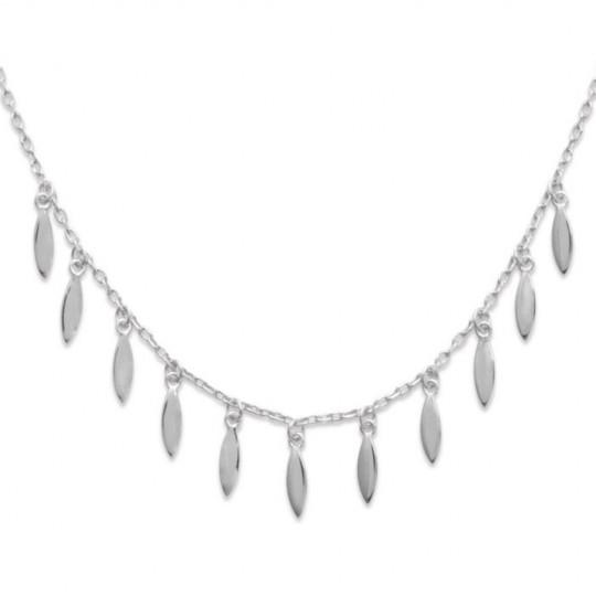 Necklace Petalled breloque Gipsy Bohême Argent Rhodié - 45cm