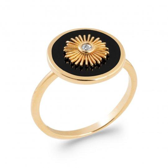 Bague étoile Plaqué Or 5 Microns - Agate noire - Femme