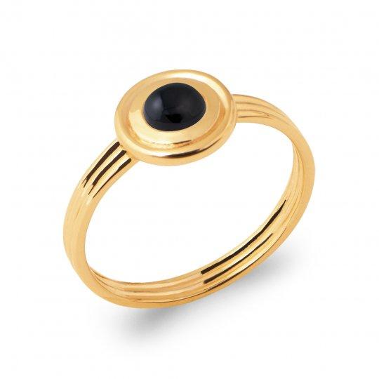 Anello Placcato in oro 18k 5 Micron - Agate Nero - Donna
