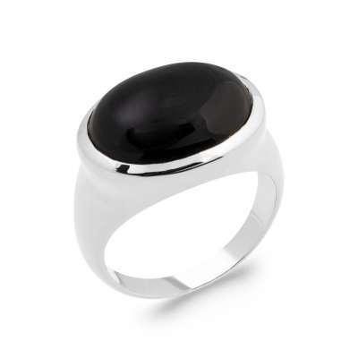Ring Argent Rhodié - Agate Black - Signet ring Women