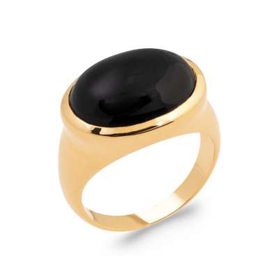 Ring Gold plated 18k 5 Microns - Agate - Signet ring Women