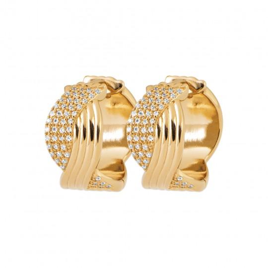Hoop Earrings 15mm Gold plated 18k - Cubic Zirconia - Women