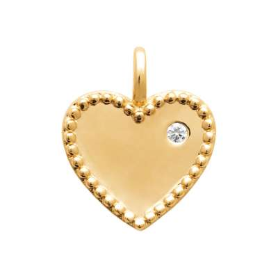 Pendants Heart  Gold plated 18k - Cubic Zirconia - Women