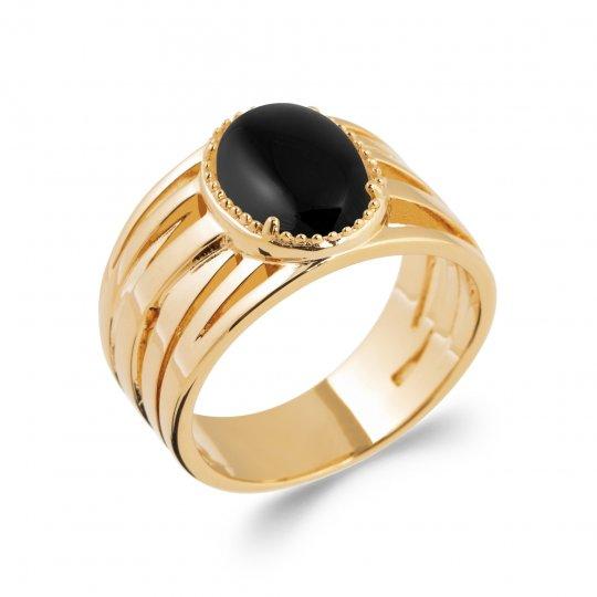 Bague Agate noire Plaqué Or 5 Microns - Femme