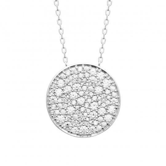 Collier Argent Rhodié - Oxyde de zirconium - Femme - 45cm