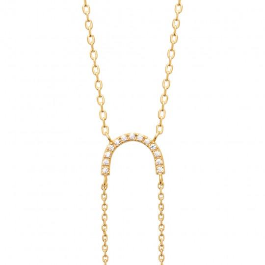 Collier Plaqué Or - Oxyde de zirconium - Femme - 45cm