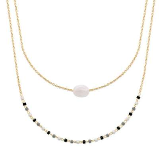 Necklace Pierre de lune - Gold plated 18k - Women - 45cm