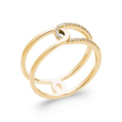 Ring Gold plated 18k - Cubic Zirconia - Women