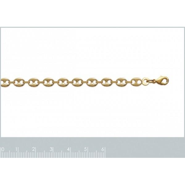 Bracelet chaîne Grain De Café 4.90mm Plaqué Or - Mixte - 20cm