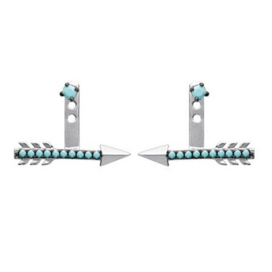 Boucles d'oreilles sous lobe flèche argent pierres d'imitation bleues turquoise